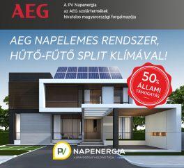 50%-os állami támogatás AEG napelemes rendszerre, hűtő-fűtő split klímával