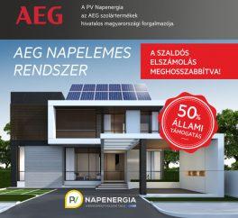 50%-os állami támogatás AEG napelemes rendszerre